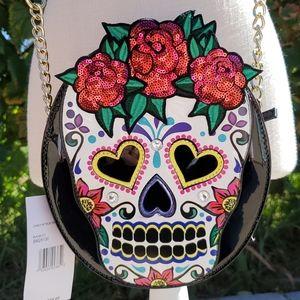 Betsey Johnson sugar skull crossbody Halloween